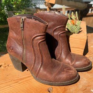 Born Brown Leather Zip-up Booties